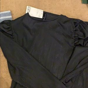 HM long sleeve black body on dress with shoulder